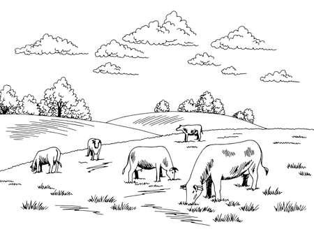 Cows feeding grass on the hill graphic black white sketch illustration vector Ilustração