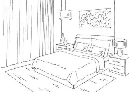Bedroom graphic black white home interior sketch illustration vector Vetores