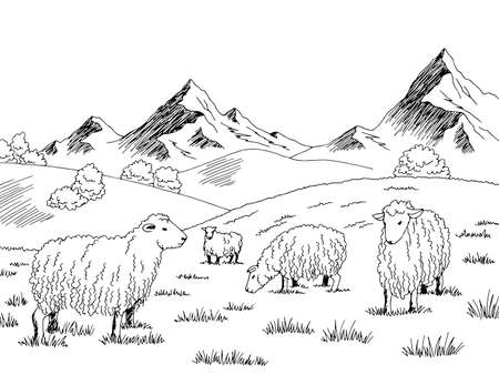 Sheep feeding grass in a meadow in the mountains graphic black white sketch illustration vector Ilustração
