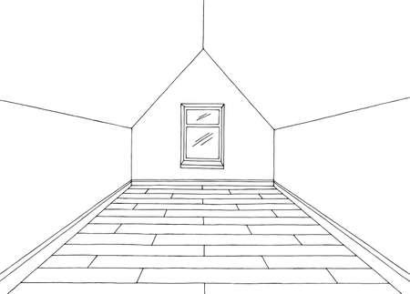 Attic room graphic black white home interior sketch illustration vector