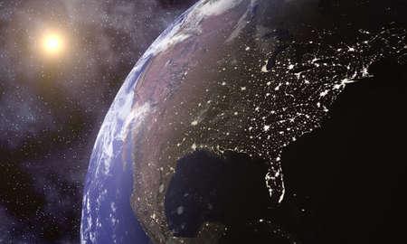 Planète Terre dans l'espace avec des lumières de la ville visible sur la côte Est de l'Amérique Banque d'images - 30064273