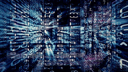 chaos: Digital Data Chaos 0341 - Chaotic digital data abstraction with numbers and letters  Stock Photo