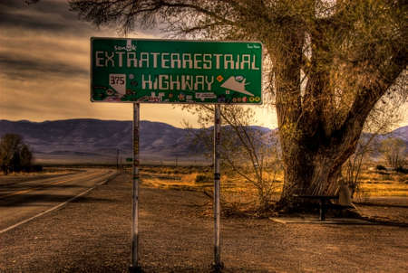 The lonely Extraterrestrial Highway in Nevada, USA. Stok Fotoğraf