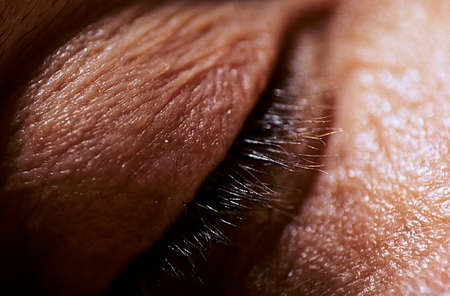 and eyelid: Close up of a human eyelid, closed.