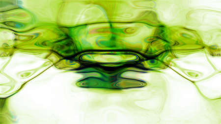 spontaneous expression: Abstract green fluid forms flowing on a white background. Stock Photo