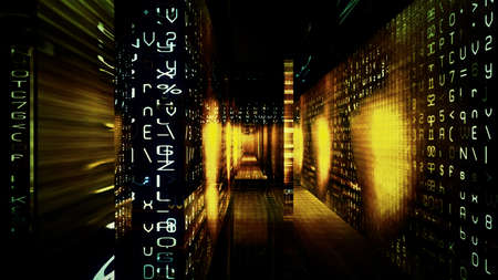 Futuristic digital technological display with numbers, letters and light effects. photo