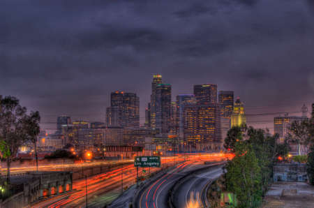 The Los Angeles skyline and freeways at night