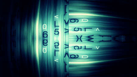 readout: Digital data tech abstraction with letters, numbers and light effects. Stock Photo