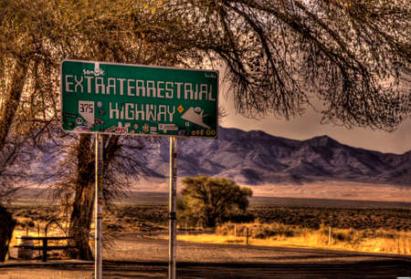 trippy: Sign for the Extra Terrestrial Highway in area 51 Nevada. Editorial