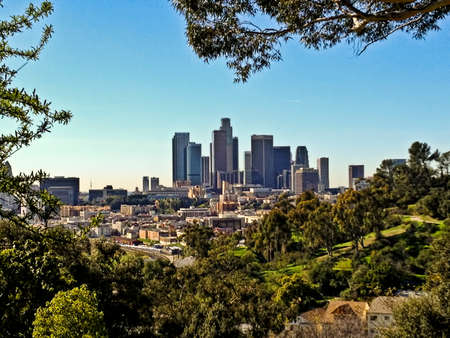 A view of the downtown Los Angeles city skyline. Stock Photo