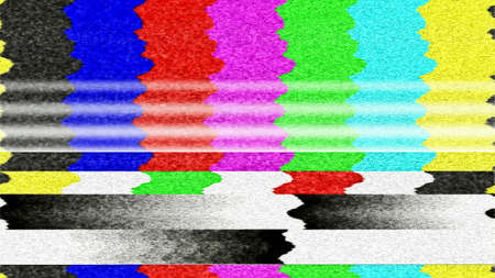 find fault: Retro TV color bars with TV snow and interference. Stock Photo
