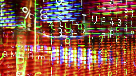 Futuristic digital technological display 10739 with numbers, letters and light effects.