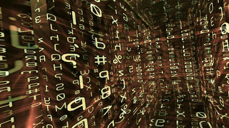 Futuristic digital technological display 10794 with numbers, letters and light effects. Imagens - 55435573