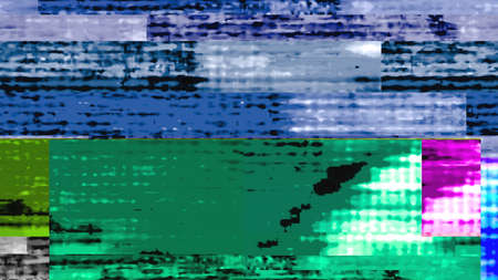 Futuristic, streaming data malfunction video screen display. From a series of abstract future tech imagery. Stock Photo