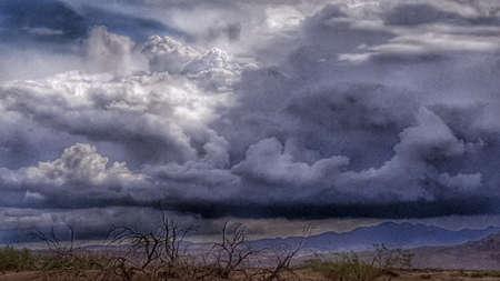 A rain storm in the Mojave Desert, California.