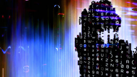 Streaming digital data abstraction 10876 from a series of futuristic tech imagery. Stock Photo