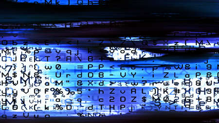 Futuristic data technology screen display with numbers, letters and abstract digital forms.