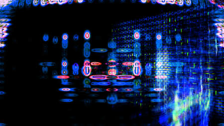 Futuristic, video screen display pixels 10530 from a series of abstract future tech imagery.