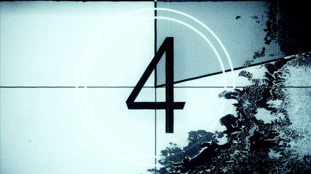 Film leader countdown frame showing the number four. High resolution illustration 10884. Banque d'images - 115279056