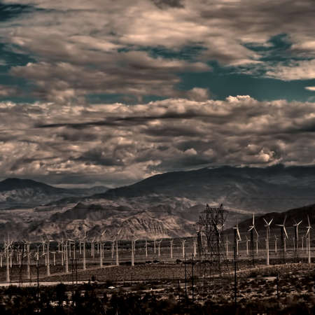 Green energy windmills in the Southern California desert.