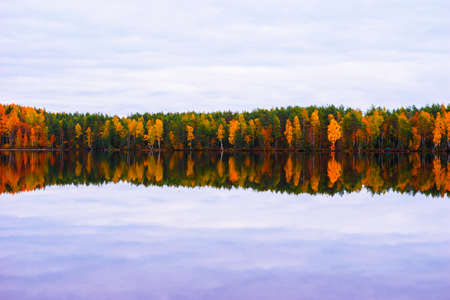 Beautiful autumn landscape. Reflection of the autumn forest in the lake.