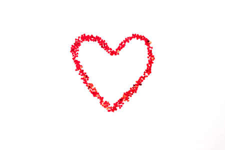 Painted red heart made of many small hearts. Valentines day concept. Imagens