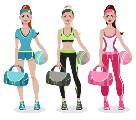 Attractive young woman in fitness sportswear, holding sports bag and ball in her arms. Fitness trainer in sportswear. Women's profession. Cartoon vector illustration.