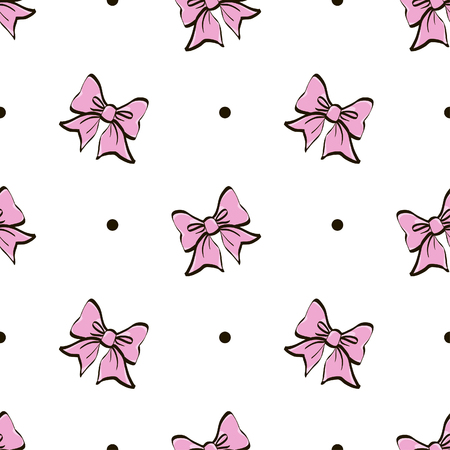 Cute seamless pattern with beautiful hand drawn bows. Vector doodle illustration. Cloth design, wallpaper, wrapping. Stock Illustratie