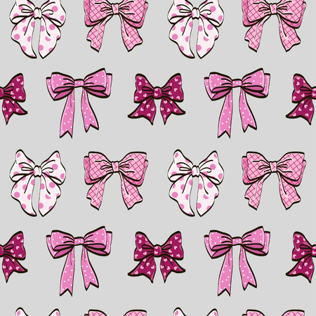 Cute seamless pattern with beautiful hand drawn bows. Vector doodle illustration. Cloth design, wallpaper, wrapping. Illustration