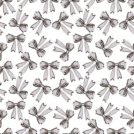 Cute seamless pattern with beautiful hand drawn bows. Vector doodle illustration. Cloth design, wallpaper, wrapping. Ilustração