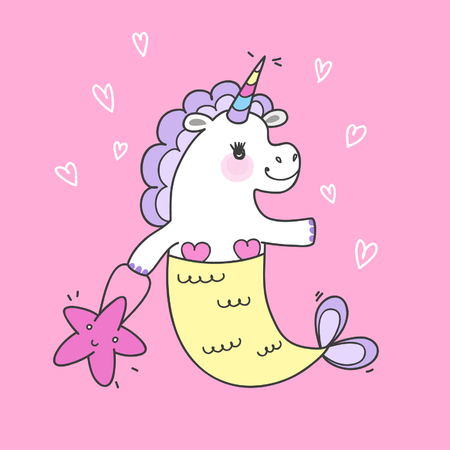 Cute fairy unicorn with mermaid tail and a rainbow mane. Magic funny mermaid. Vector doodle illustration.