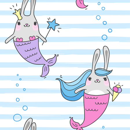Seamless pattern with magic cute mermaids. Funny little rabbits. Sea theme. Vector illustration.  イラスト・ベクター素材