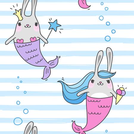 Seamless pattern with magic cute mermaids. Funny little rabbits. Sea theme. Vector illustration. Vettoriali