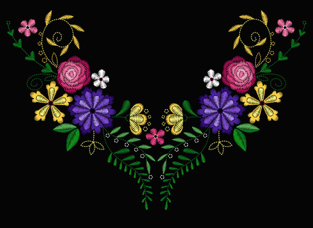 A Vector design for collar t-shirts and blouses. Colorful ethnic flowers neck line. Embroidery for Fashion. Vector illustration. Ilustração