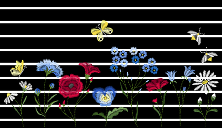 Embroidery wild flowers. Embroidered design elements with flowers, leaves and insects on striped background.
