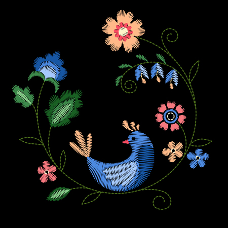Frame with beautiful flowers and bird. Embroidery for Fashion. Vector illustration.