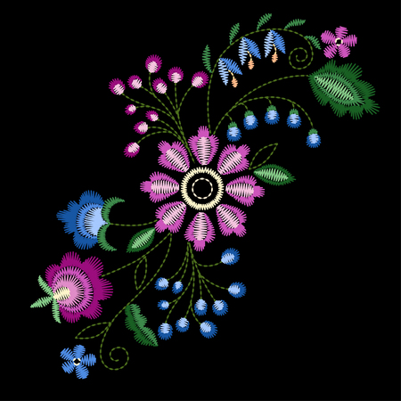 Vector design for collar t-shirts and blouses. Colorful ethnic flowers neck line. Embroidery for Fashion. Vector illustration. Foto de archivo - 97044904