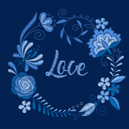 Frame with beautiful flowers. Embroidery for Fashion. Vector illustration.