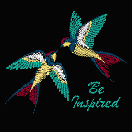 Embroidery with beautiful swallow birds. Embroidery for fashion textile and fabric. Vector design for collar t-shirts and blouses.