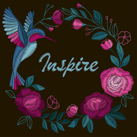 Frame with beautiful flowers and bird. Embroidery for Fashion Vector illustration. Illustration