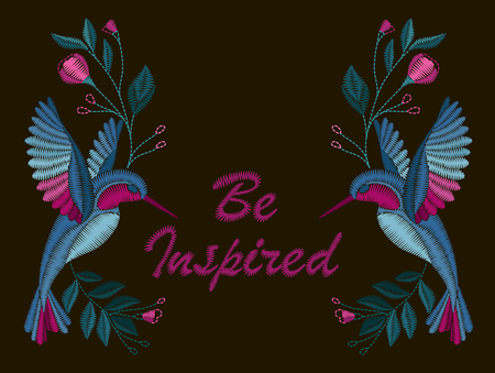 Beautiful flowers and birds. Embroidery for Fashion Vector illustration.