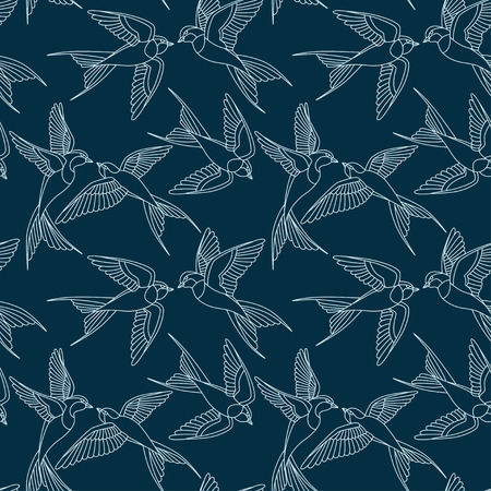 Swallow bird vector pattern Seamless pattern with flying birds.