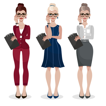Secretary in a formal wear. Businesswoman in elegant office clothes with a folder in her hands. Attractive assistant in glasses. Women's profession. Cartoon vector illustration.