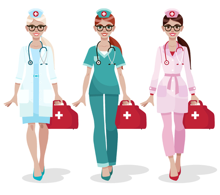 Set of three female doctors in uniform isolated on white background. Attractive young nurses in glasses. Women's profession. Cartoon vector illustration.