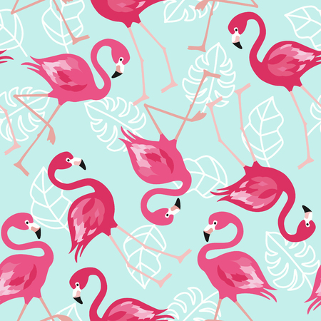 Flamingo seamless pattern on mint green background. Pink flamingo vector background design for fabric and decor Vector trendy illustration.