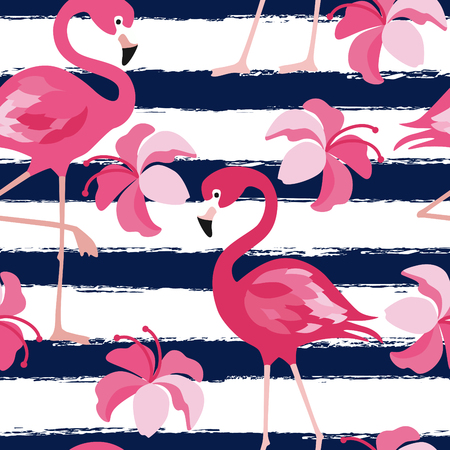 A Seamless pattern with dark blue grunge stripes and pink flamingo. Pink flamingo vector background design for fabric and decor Vector trendy illustration.
