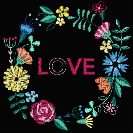 Frame with beautiful flowers. Embroidery for Fashion Vector illustration.