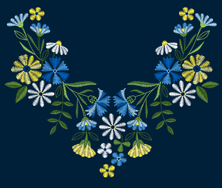 A Vector design for collar t-shirts and blouses. Colorful ethnic flowers neck line. Embroidery for Fashion Vector illustration. Foto de archivo - 97045428