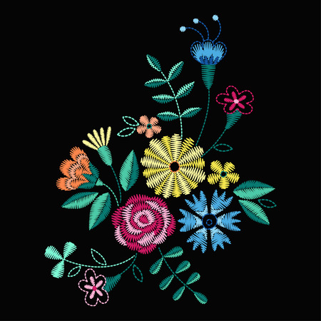 A Vector design for collar t-shirts and blouses. Colorful ethnic flowers neck line. Embroidery for Fashion Vector illustration. Vettoriali