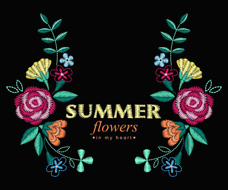 A Vector design for collar t-shirts and blouses. Colorful ethnic flowers neck line. Embroidery for Fashion Vector illustration. Foto de archivo - 97045439